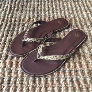 6256759f7a5cd UGG Women s Leopard Pattern Leather Flip Flops